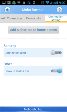 Sekce Connection setting