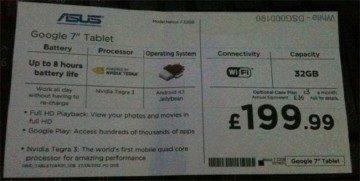 Na Internet se dostala cenovka, na které je 32GB Nexus 7 za cenu 199 britských liber