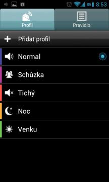 Uživatelské rozhraní aplikace se skládá ze dvou sekcí