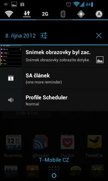 V notifikační liště je zobrazována ikona a název profilu