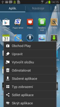 Nabídka v seznamu aplikací