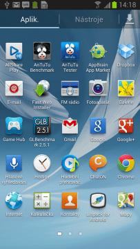 Zobrazení aplikací v abecední tabulce