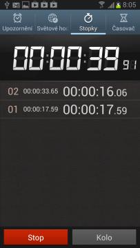 Stopky umí také měřit čas na kolo.