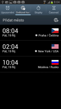 Světové hodiny zobrazují aktuální čas na zvolených místech