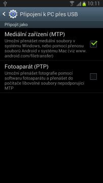 Galaxy Note II podporuje jen režimy MTP a PTP