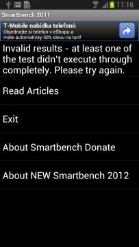 Výsledky benchmarku Smartbench 2011 nebylo možné zobrazit