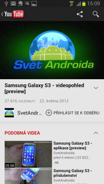 Přehrávač videí z portálu Youtube