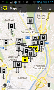 Lokalizace nejbližšího bankomatu nebo pobočky