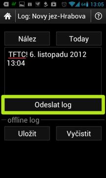 Tlačítkem Odeslat log odešlete záznam o nálezu na server Geocaching.com