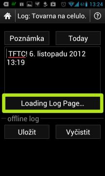 Text Loading Log Page znamená, že je připojení k Internetu nedostupné