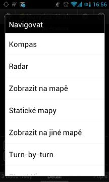 Výběr z několika možností navigace