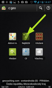 Na úvodní obrazovce c:geo - prostřední ikona v první řadě Nejbližší.