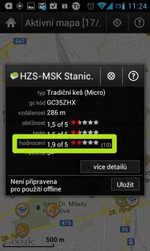 Hodnocení keše udělené uživateli na serveru GCVote.