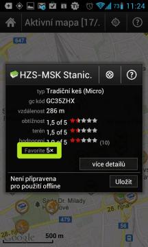 Počet kladných hodnocení na serveru Geocaching.com