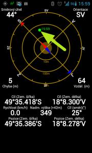 Zobrazení pozice keše na radaru