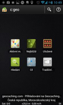 Úvodní obrazovka aplikace c:geo