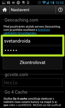 Jako první zadejte své přihlašovací jméno a heslo k serveru Geocaching.com