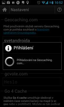 c:geo kontroluje uživatelské jméno a heslo