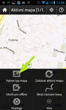 Přes Menu-Vybrat typ mapy můžete měnit použité mapové podklady.