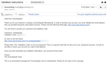E-mail, ověřující platnost zadané e-mailové adresy