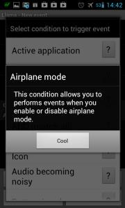 Nápověda k podmínce Airplane mode