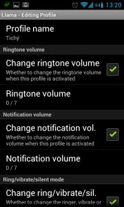 Jméno profilu, nastavení hlasitosti vyzvánění a notifikací.