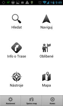 MapFactor Navigator: hlavní obrazovka