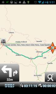 MapFactor Navigator: cesta z Ostravy do Prahy