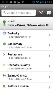 Mapy.cz: okolní body zájmu