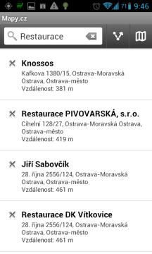 Mapy.cz: nejbližší restaurace