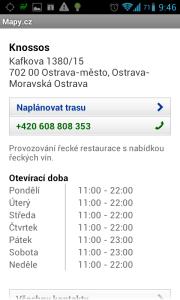 Mapy.cz: podrobnosti o zvoleném podniku