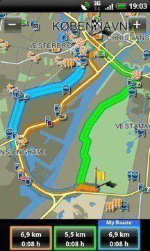 Navigon Europe: tři varianty trasy