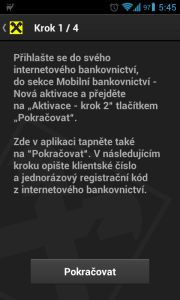 Mobilní bankovnictví je nutné aktivovat a autorizovat aplikaci
