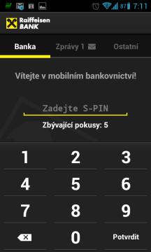 Pro přihlášení k mobilnímu bankovnictví je nutné zadat S-PIN