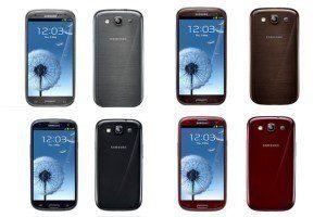 Čtyři ze šesti barevných provedení Samsungu Galaxy S III