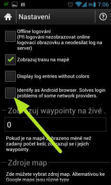 Možnost identifikovat aplikaci proti webu Geocaching.com jako výchozí webový prohlížeč