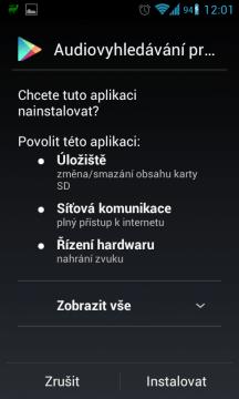 Schválení oprávnění aplikace Sound Search for Google Play