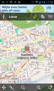 Locus s podklady OpenStreetMap