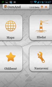 Úvodní obrazovka aplikace OsmAnd