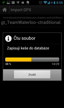 c:geo zapisuje keše do databáze