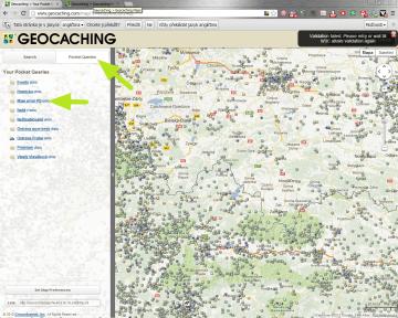 Pocket queries najdete také v mapě
