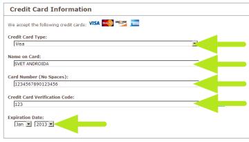 Informace o platební kartě