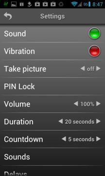 Mobile Alarm System - další nastavení aplikace