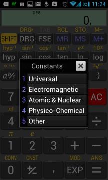 Kromě Ludolfova a Eulerova čísla nabízí RealCalc ještě celou řadu dalších konstant