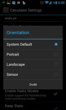 Je možné vybrat, zda RealCalc poběží v režimu na výšku, nebo na šířku