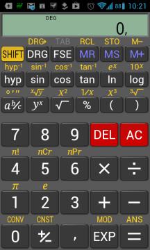 RealCalc odpovídá designem a rozložením kláves reálným kalkulačkám
