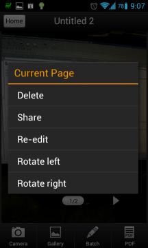 Snímky je přes kontextové menu možné mazat, sdílet, upravovat a otáčet.