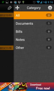 Seznam kategorií je dostupný přes ikonu v pravém horním rohu