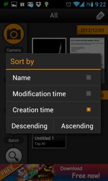 Dokumenty je možné řadit skrze tlačítko Sort vzestupně, nebo sestupně