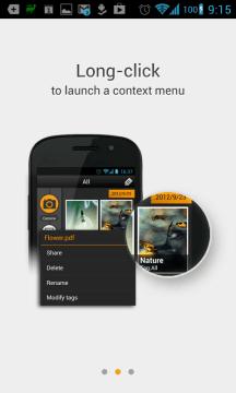 Dlouhým tapnutím vyvoláte kontextové menu.